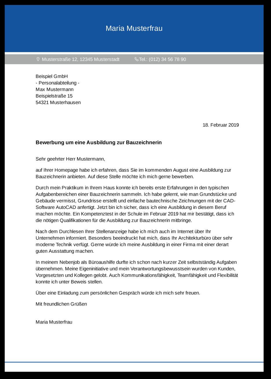 Anschreiben Architektur Bewerbung: Die Bewerbung Zur Ausbildung: Bauzeichner / Bauzeichnerin