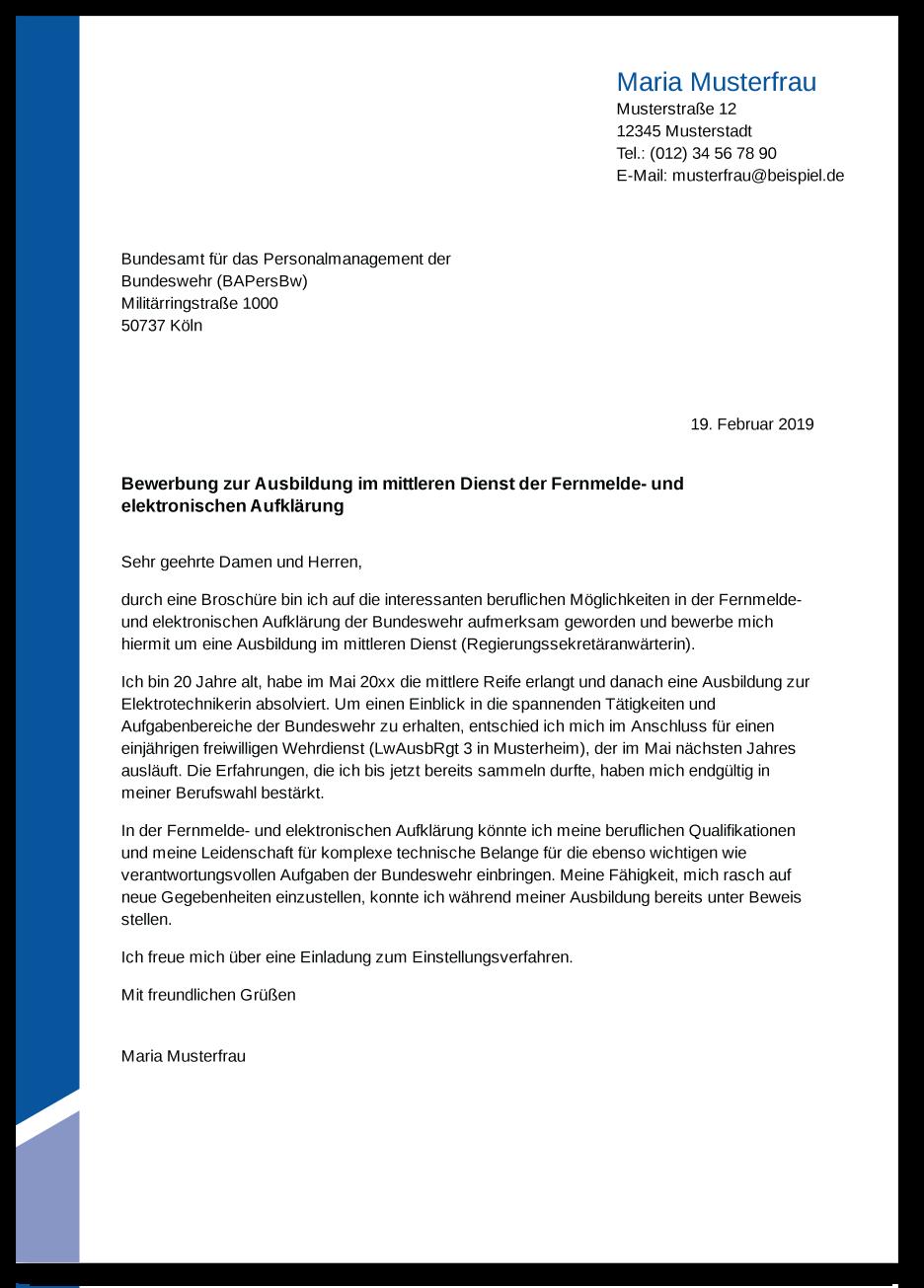 Die Bewerbung Zur Ausbildung Bundeswehr Ausbildungspark
