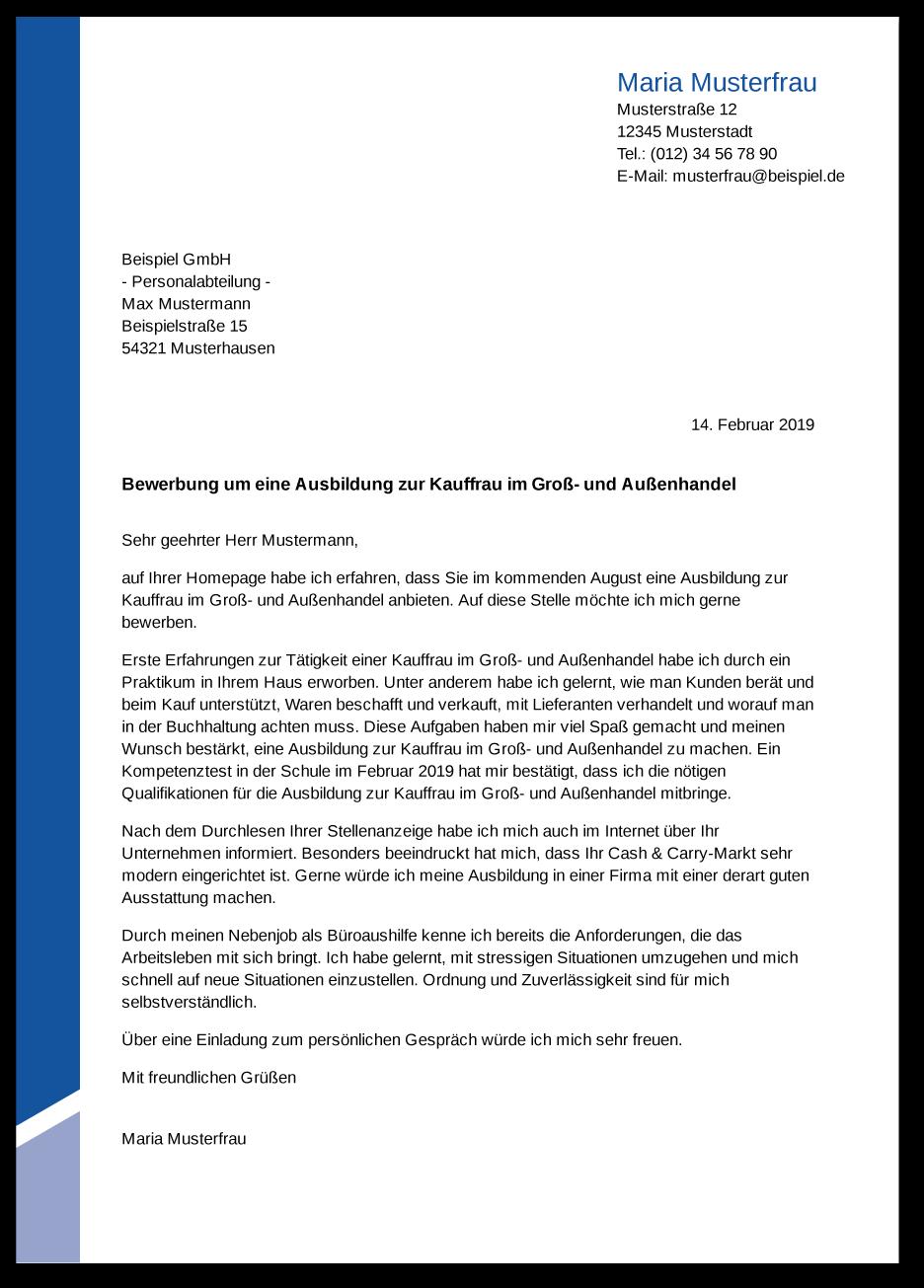 Die Bewerbung zur Ausbildung Kaufmann im Groß  und Außenhandel ...