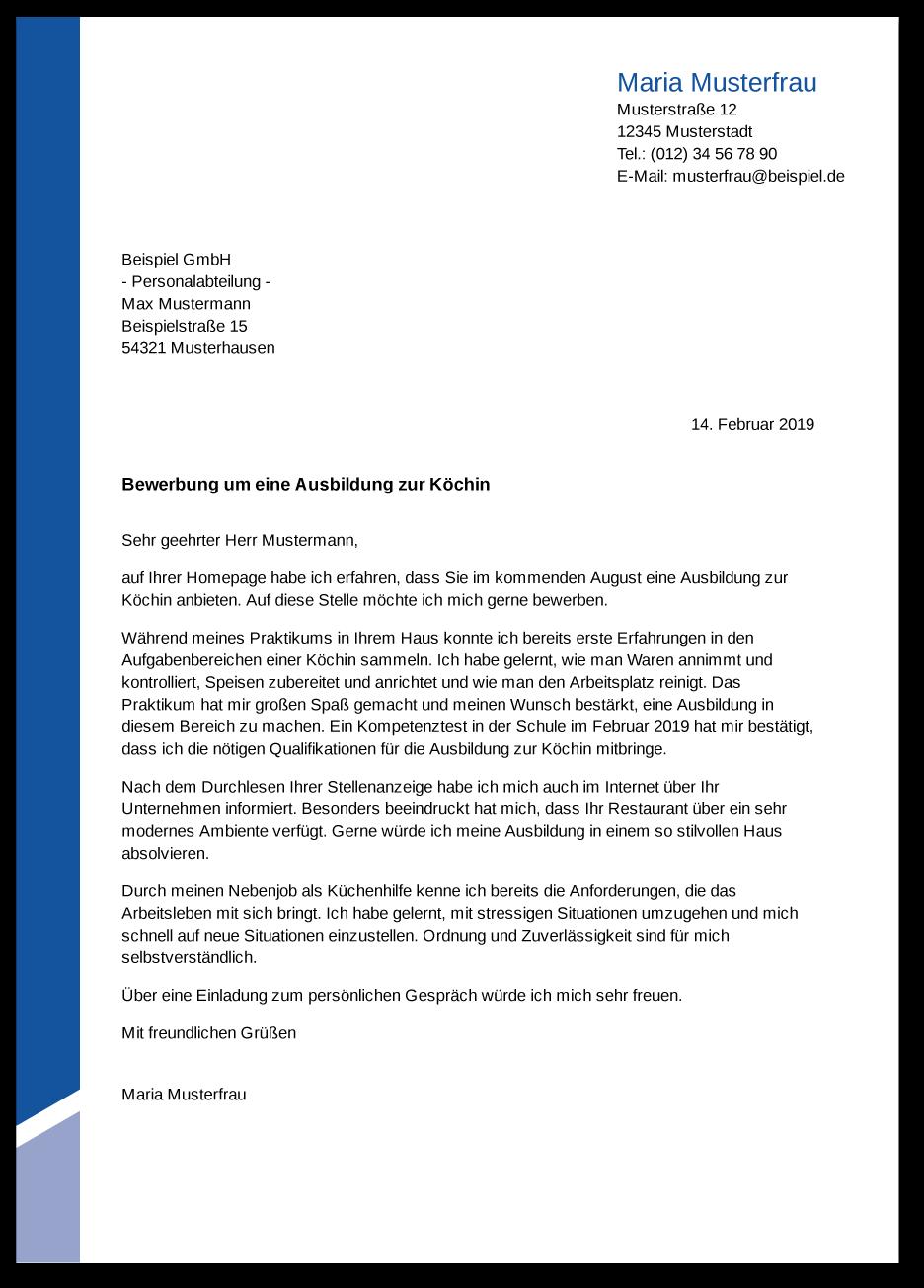 Die Bewerbung Zur Ausbildung Koch Kochin Ausbildungspark Verlag