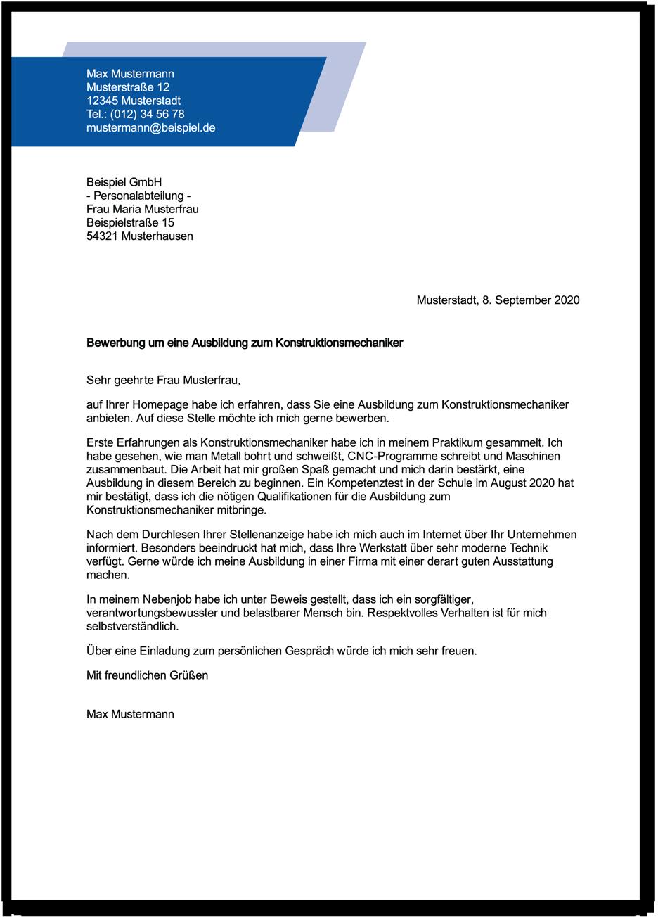 Die Bewerbung Zur Ausbildung Konstruktionsmechaniker Konstruktionsmechanikerin Ausbildungspark Verlag