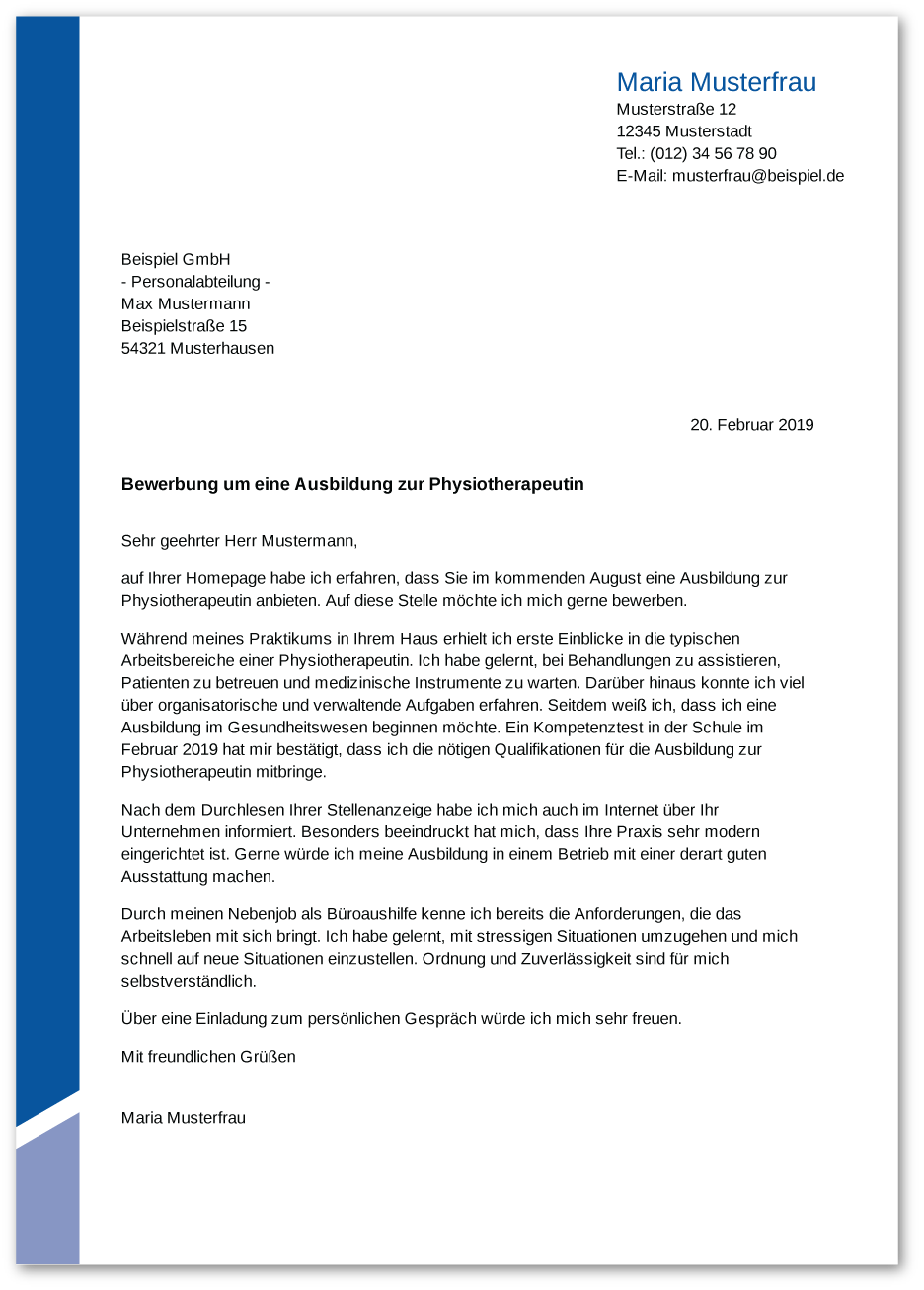 Bewerbung: Physiotherapeut