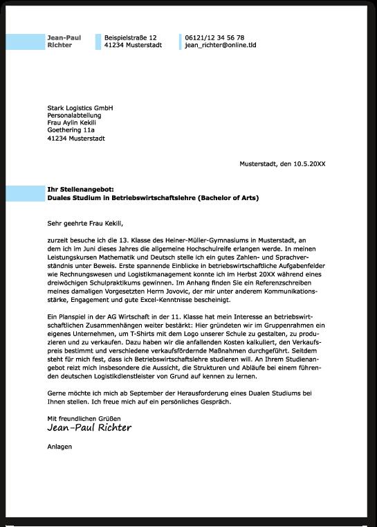 Duales Studium: Das perfekte Anschreiben - Ausbildungspark Verlag