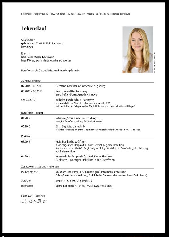 Der chronologische Lebenslauf für die Bewerbung zur Ausbildung ...